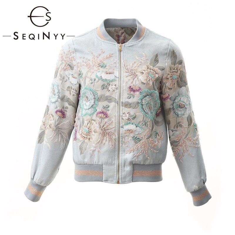 SEQINYY синяя куртка 2020 весна осень новый модный дизайн для женщин с длинным рукавом и отделкой из бус цветы жаккард роскошный короткий топ