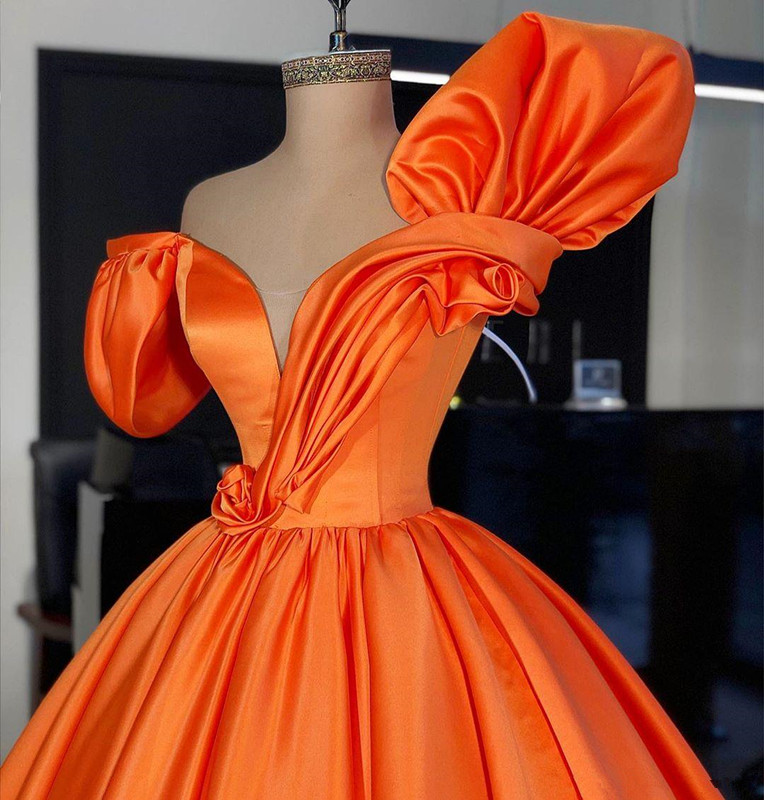 Orange Ball Gown prom dresses 2020 Puffy sleeve Formal Wear Party Dress Evening Dresses Plus Size Abendkleider robe de soiree - 2