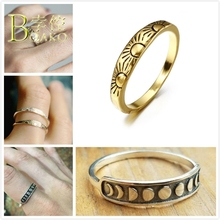 BOAKO Vintage Sun Rings For Women Engagement Ring Gold Relief Moon Eclipses Astrology Men anillo femme Jewelry B5