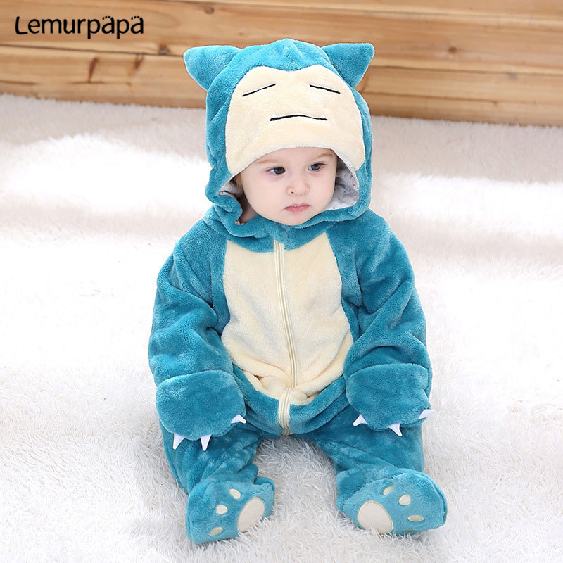 Image 4 - Snorlax Onesie Baby Romper Infant Cute Clothes 0 2 Y New Born Boy Girl Klgurumis Cartoon Funny Costume Pajama Soft Warm OutfitRompers   -