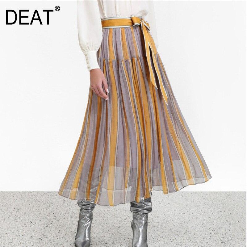 DEAT Contrast Stripe High Waist Belt Splicing Pleated Woman Chiffon Skirt Casual Joker Simple Fashion 2020 Autumn New TV665