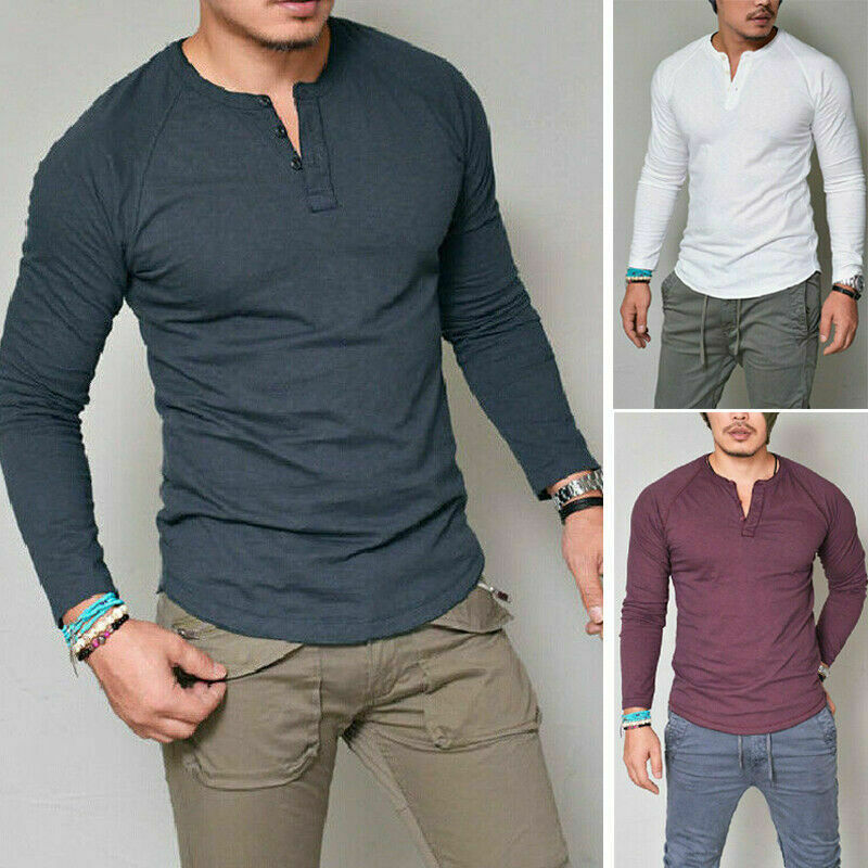New Fashion Men's Slim Fit V Neck Long Sleeve Casual Tops Blouse Muscle  Shirt