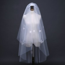 White Ivory Two Layers Bridal Veils Applique Short Women Wedding With Comb