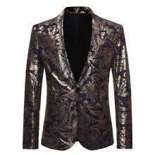 Блестящие золотые костюмы с узором пейсли, блейзер для мужчин, новинка, фирменный, на одной пуговице, Мужской Блейзер, куртка для диджея, клуба, бара, сцены, костюмы певцов, Homme, XXL