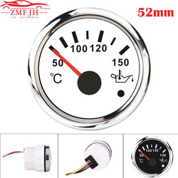 52mm Motorcycle Marine Auto Oil Temp Gauge 50-150 Celsius Degree Fit for Car Boat 12V 24V With Red Backlight Temperature Meter
