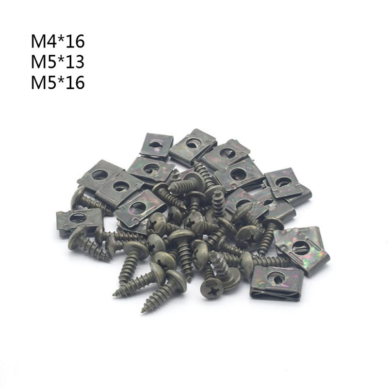 M4/M5 Dark Green Motorcycle Anti-Rust U-Type Metal Clips Self-Tapping Screws Retainer Fairing Bolts Kit For Ebike Moped Scooter