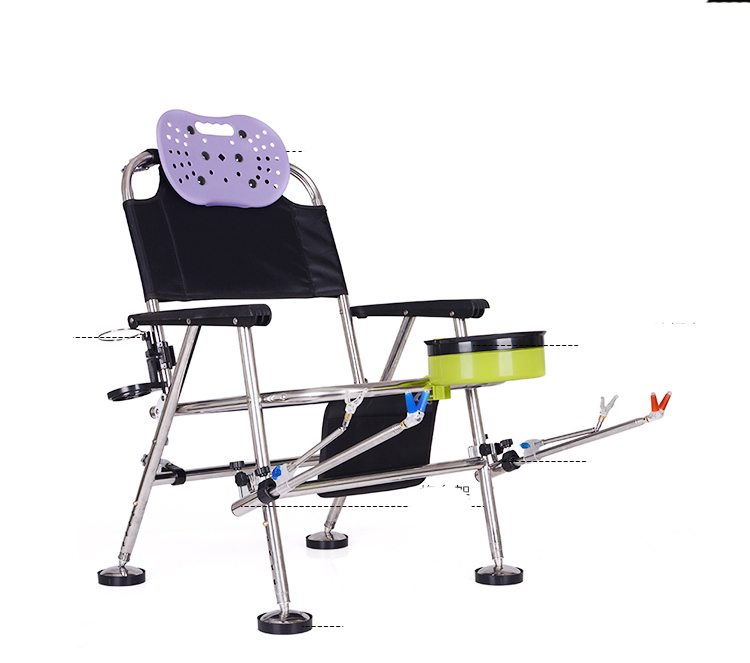 Multifunctional  Fishing Chair Outdoor Leisure Stainless Steel  Fishing Stool Bearing 300kg Wih Fishing Bait Fixture & Bag