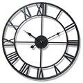 Скандинавские металлические римские цифры настенные часы Ретро железные круглые черные золотые большие наружные садовые часы украшение д...