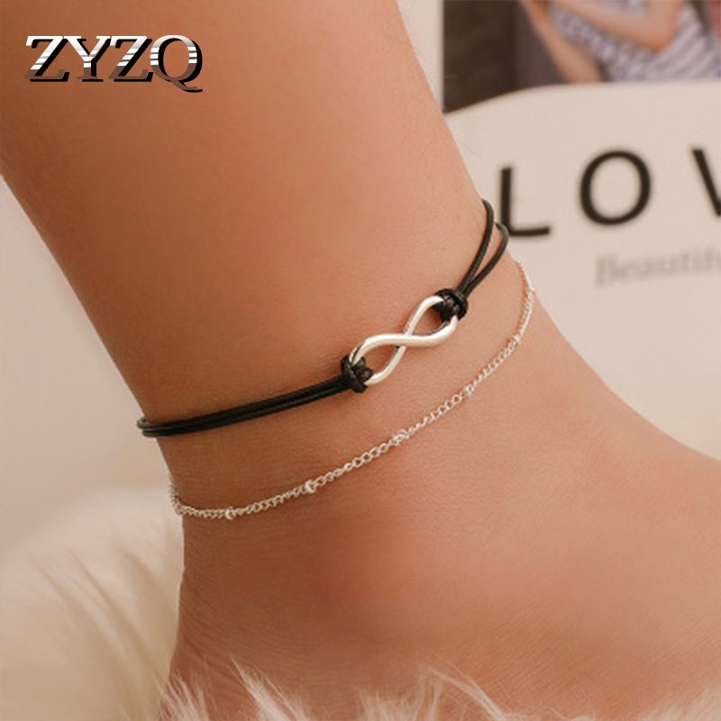 ZYZQ Personality Double Layered Beach Anklets For Women Fashion Black Rope Chain Anklets With Letter Eight Shaped Design Hot