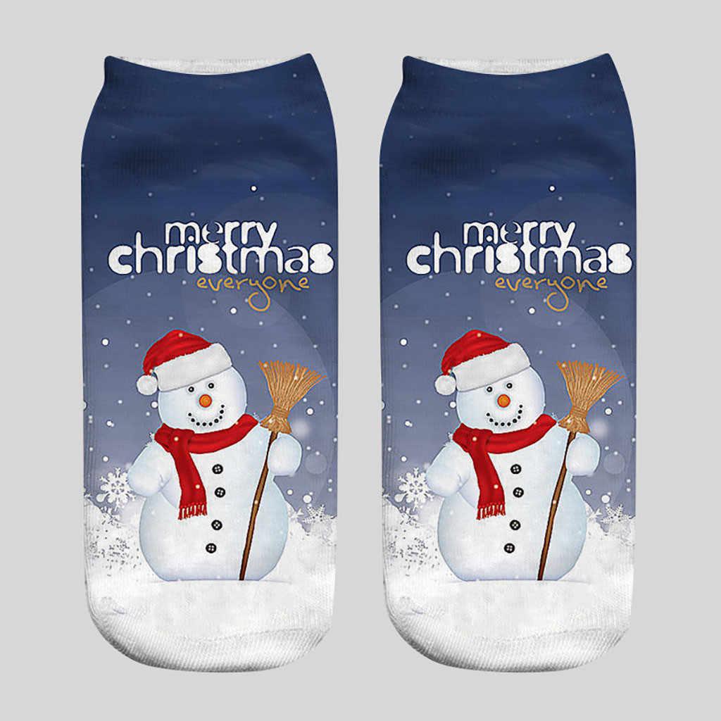 Unisexe chaussettes de noël drôle 3D mode imprimé chaussettes mignon bas coupe cheville chaussettes unisexe femmes dessin animé mignon père noël bonhomme de neige sox