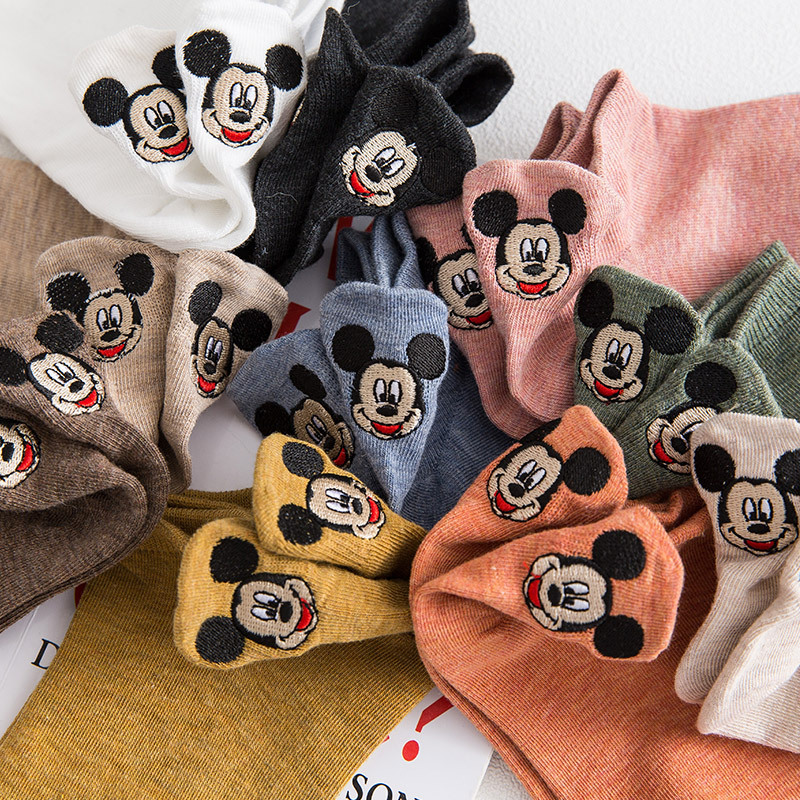 Disney Mickey Minnie Happy Socks Autumn Summer Short Socks Cute Socks For Girls Cotton