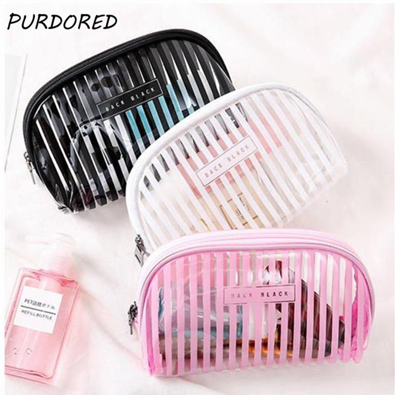PURDORED 1 Pc Transparent Striped Cosmetic Bag Clear Women Makeup Bag Travel Organizer Toiletry Kit Kosmetyczka Dropshipping