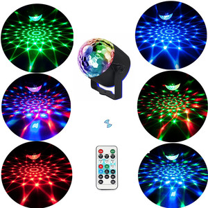 Image 4 - Mini Remote RGB LED Crystal Magic Rotating Ball Stage Lights Sound Activated Disco Light Music Christmas KTV Party EU/US/UK Plug