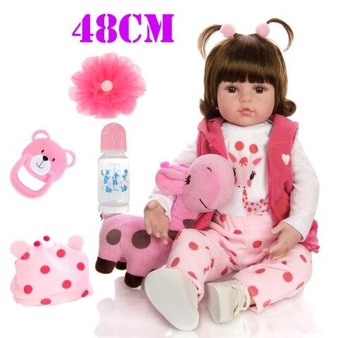 48cm Bebe Silicone Reborn Baby Doll Toys Like Real Vinyl Princess Toddler Babies Dolls Girls Giraffe doll gift boneca reborn Pakistan
