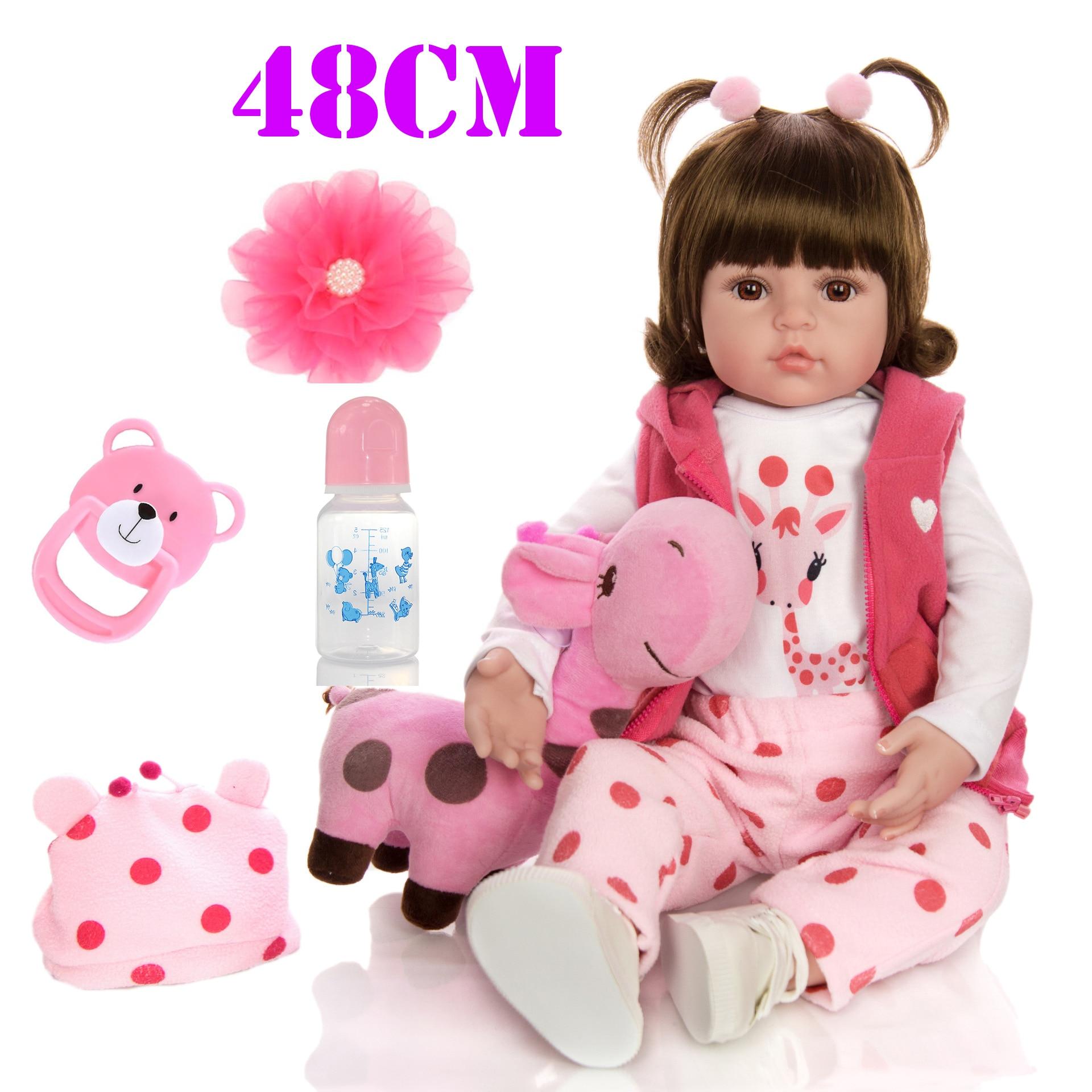 48cm Bebe Silicone Reborn bébé poupée jouets comme vrai vinyle princesse bambin bébés poupées filles girafe poupée cadeau boneca reborn