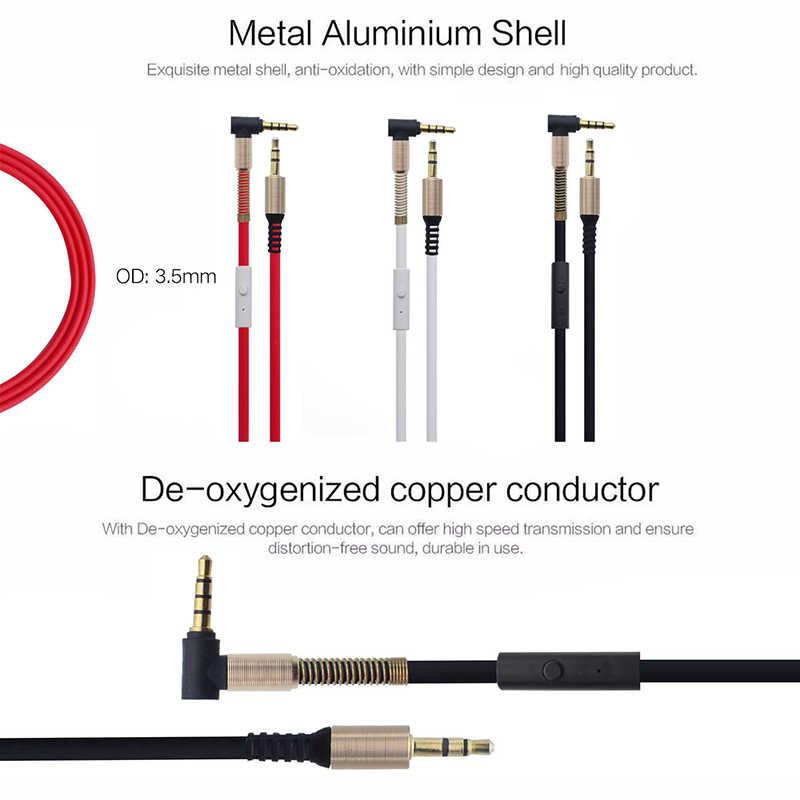 AUX ذكر لذكر مطلية بالذهب وصلة كابل الصوت مع Mic 3.5 مللي متر الربيع حماية L-شكل الربيع حماية الهاتف مكبر صوت للسيارة التلفزيون مجموعات MP3