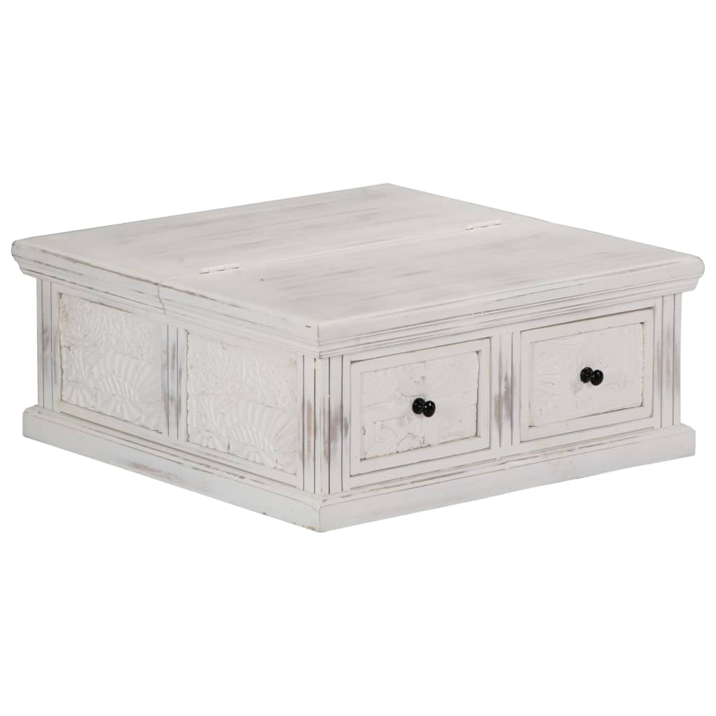 VidaXL Coffee Table White 70x70x30 Cm Solid Mango Wood