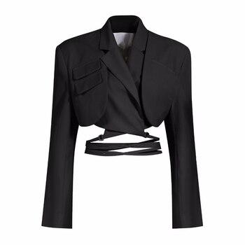 MOZISION Irregular Elegant Blazer For Women Notched Long Sleeves Lace Up Bowknot Blazers Female 2021 Spring Fashion New Coat 7