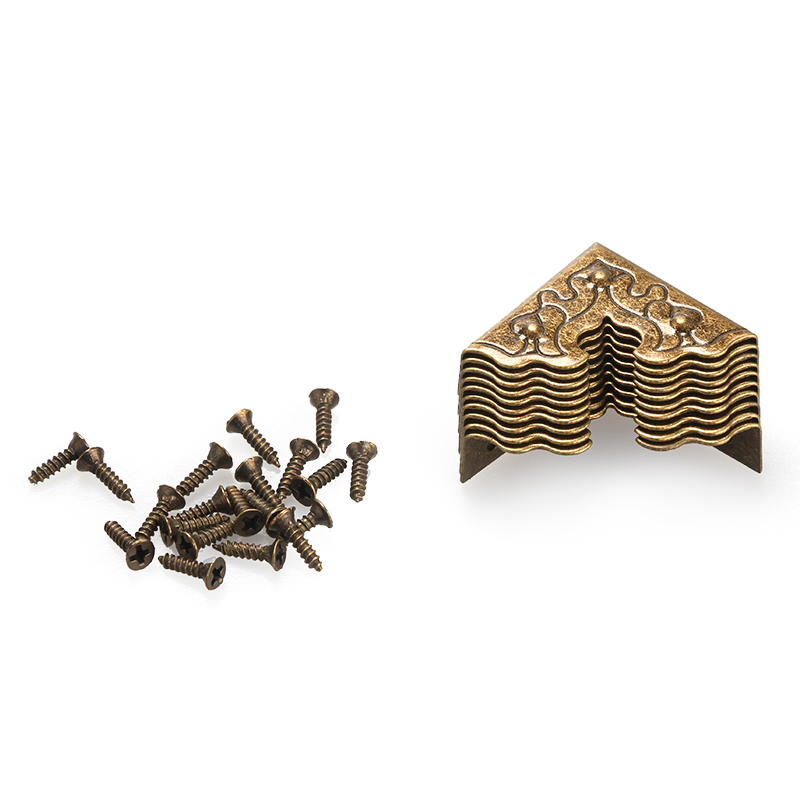 10Pcs Antique Furniture Metal Crafts Jewelry Box Corner Foot Wooden Case Corner Protector Decorative Corner 25mm