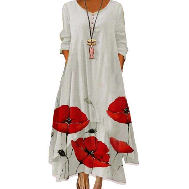 MOVOKAKA 2021 White Long Dress Women Floral Print Vintage Long Sleeve Elegant Dress Plus Size Vestido Women Casual Dresses Party 6