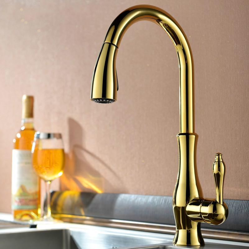 Gold Kitchen Faucet Gold Single Handle kitchen Tap Brass Swivel Spout Kitchen Sink Faucet