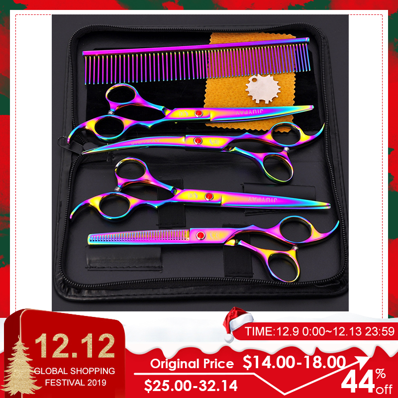 5pcs Stainless Steel Pet Dogs Grooming Scissors Cat Hair Thinning Shear Sharp Edge Dog Cutting Kitten Animal Barber Cutting Tool