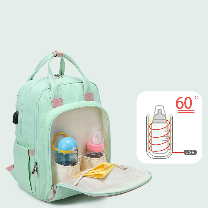 2020 New Fashion Diaper Bag Bottle Heating Multi-Function Mommy Bag Waterproof Travel baby diaper backpack With USB Interface