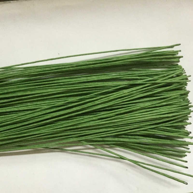 25 ชิ้น/ล็อตดอกไม้ STUB ลำต้นกระดาษดอกไม้สีเขียวเทปลวดเหล็กประดิษฐ์ดอกไม้ STUB Stems CRAFT Decor สบู่ดอกไม้ stem