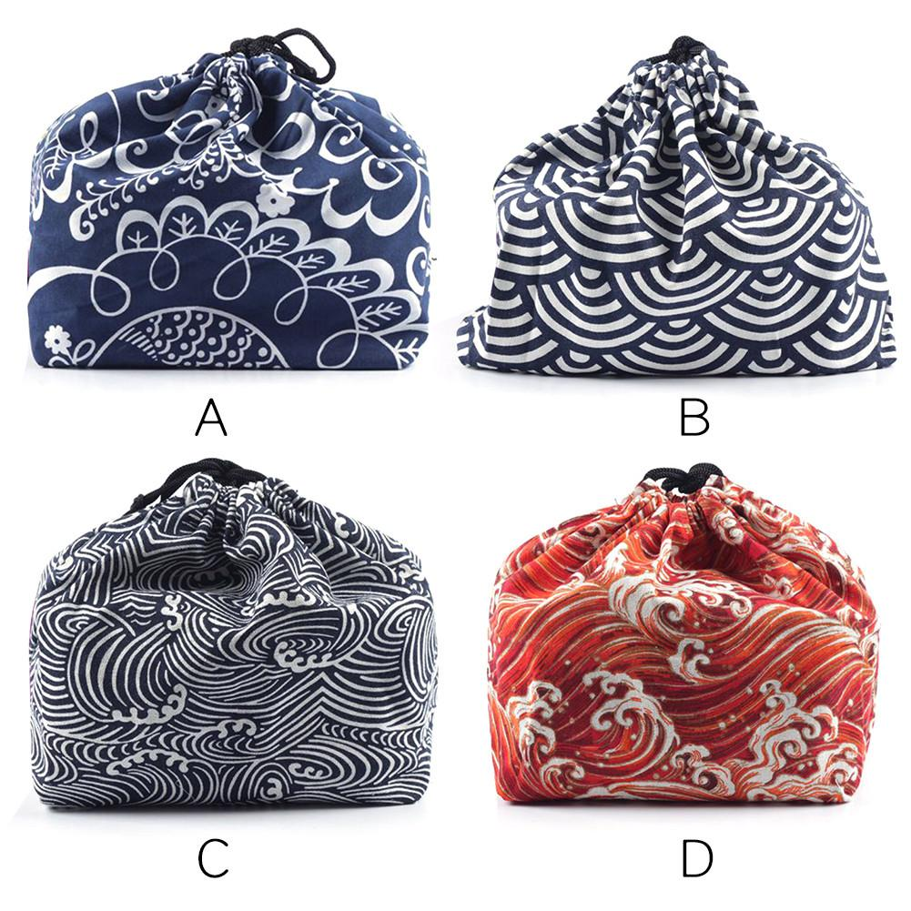 Japanese Style Lunch Box Bag  Drawstring Lunch Bag Bento Tote  Pouch Portable Lunch Box Storage Travel Picnic Tea Sets Bag
