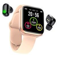 Reloj inteligente X5 TWS, inalámbrico por Bluetooth, auriculares 2 en 1 HD con pantalla grande, control del ritmo cardíaco y de la presión sanguínea