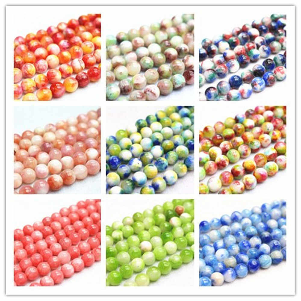 Wholesale Natural Stone Loose Beads 6/8/10/12mm Colorful Cloud Jades DIY Hand made Fine jewelry Accessory gem Beads Accessory