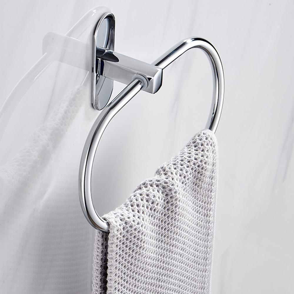 Towel Ring Punch Free Round Style Silver Stainless Steel Towel Ring Holder Bathroom Round Towel Rack