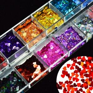 Image 1 - 1 Box Nails świecący mieszane Love Heart Paillette Nail Art cekiny Laser brokatowy lakier żelowy płatki Manicure 3D Decor porady LA469 2