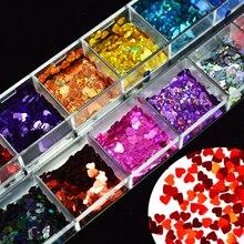 1 scatola di Chiodi Sparkly Misto di Amore Del Cuore Paillette Unghie Artistiche Paillettes Laser Glitter Gel Polish Fiocchi di Manicure 3D Decor Punte LA469 2