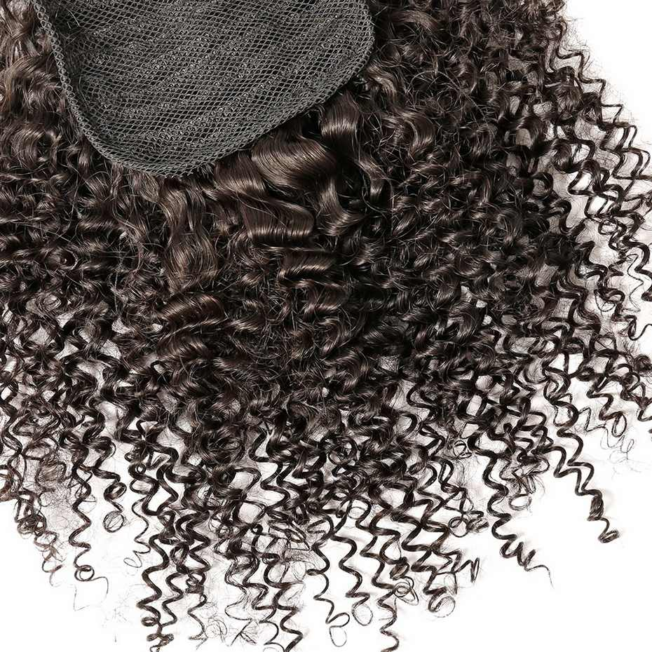 Mslula Kinky Curly Drawstring Ponytail Clip In Extensions 10-30Inch Brazilian Human Hair Natural Color 1 Piece For Black Women