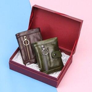 Image 5 - Contacts Small billetera de piel auténtica para mujer, monedero femenino, bolsillo con cremallera, tarjetero corto, bolso de mano tipo monedero Rfid