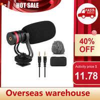 Mini micrófono con condensador cardioide, micrófono antigolpes con salida de Audio TRS y TRRS de 3,5mm para cámaras y teléfonos inteligentes