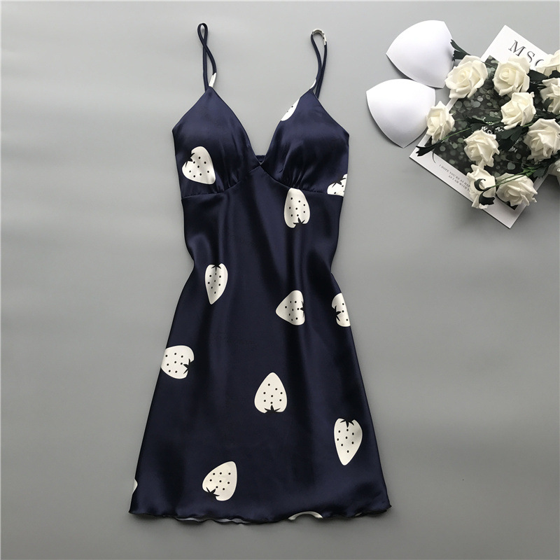 Night Dress Women Silk Dress Print Vintage Sleepwear Women Satin Nightgown V-neck Nighties For Women Thin Sleeping Dress