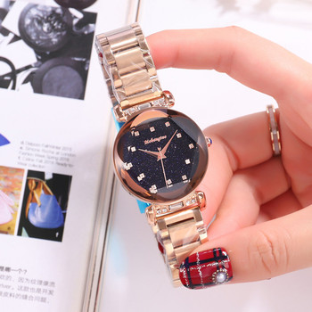 Hot Sale 5-colors Delicate Star Sky Quartz Watch For Women Simple Fashion Top Quality Waterproof Watch Steel Wrist Strap