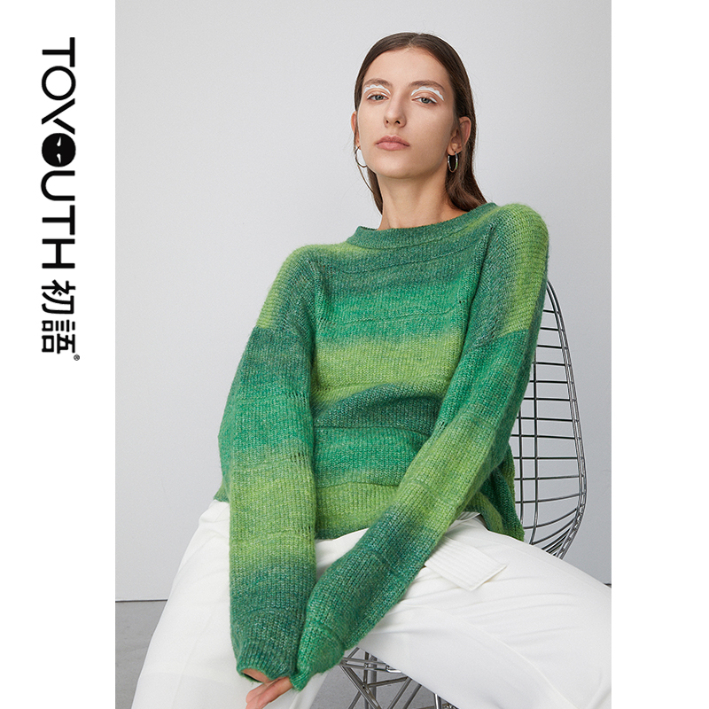 Toyouth 2020 Hollow Hit Color Knit Round Neck Pullover Short Loose Sweater Collar Long Sleeve Women Sweaters