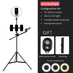 Selfie Ring Light with Cell Phone Holder for Live Stream and Makeup, LED Camera Light With Tripod for iPhone, Android Phone