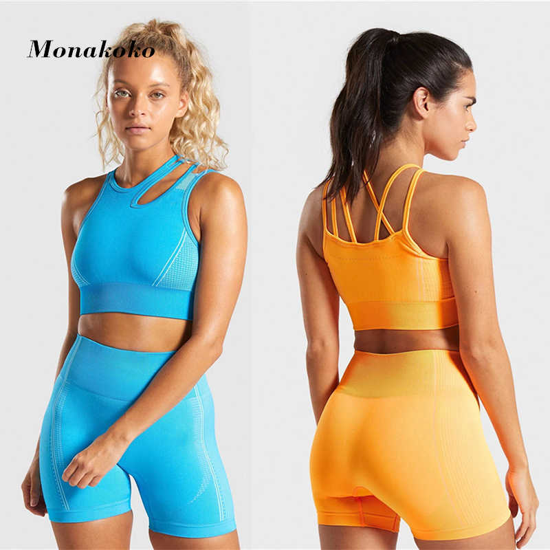 Sommer Nahtlose Sport Set Frauen Zwei 2 Stück Blau Crop Top Bh Shorts Sportsuit Workout Outfit Aktive Fitness Wear Yoga gym Sets