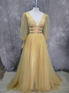 Image 5 - Verngo 2021 Korea Tulle A Line Long Prom Dress Puff Sleeve V Neck Floor Length Party Gowns Lady Formal Dress Vestido De Gala