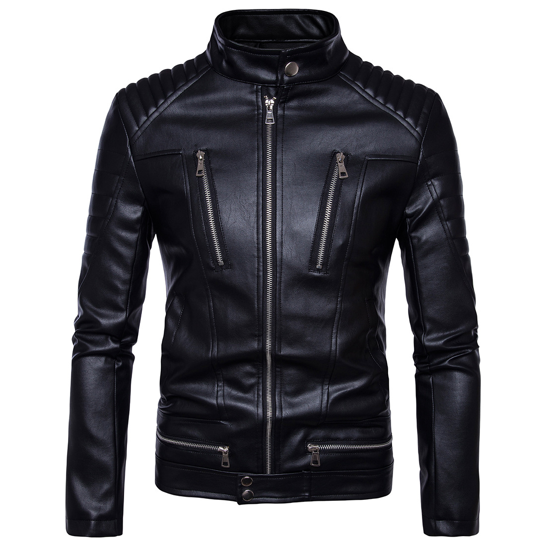 Mens Bomber Jackets Fashion Men Faux Leather Coat Zipper Overcoat Motor Jacket Motorcycle Bikers Punk  Man Brand Top Colthing