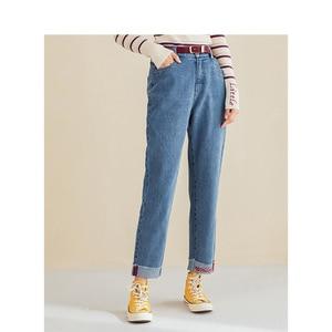 Image 2 - インマンスプリング秋冬文学すべて一致弾性ミディアムウエストルーススリム刺繍英語の手紙女性のジーンズ