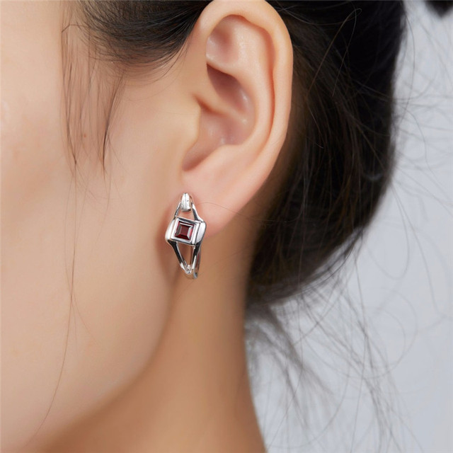925 Sterling Silve Fashion Red CZ Zircon Hoop Earrings for Women Girls Personalized Wedding Party Jewelry.jpg 640x640 - 925 Sterling Silver Fashion Red Hoop Earrings Wedding Party Jewelry Earring
