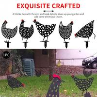 Lawn Decoration Chicken Shape Iron Animal Garden Stakes Sculpture Yard Art Patio Iron With Rustproof Coating Exquisite Crafted