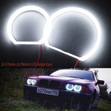 цена на Ultra Bright 2x131mm+2x106mm SMD LED Angel Eyes For BMW E46 E83/X3 Projector Led Headlight Halo Ring Kit White For Bmw E83 E46