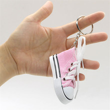 Mini Canvas Shoes Keychain Bag Charm Woman Men Kids Key Ring Key Holder Gift Chic Sneaker Keychain Car bag pendant(China)