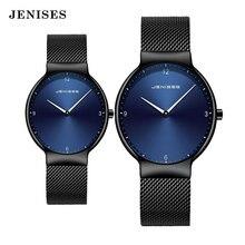 Casal assista homem e mulher marca de luxo fina malha cheia simples elegante à prova dcouple água relógio casal amantes quartzo negócios relógio de pulso